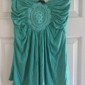 Sky green colored embroidered strapless top